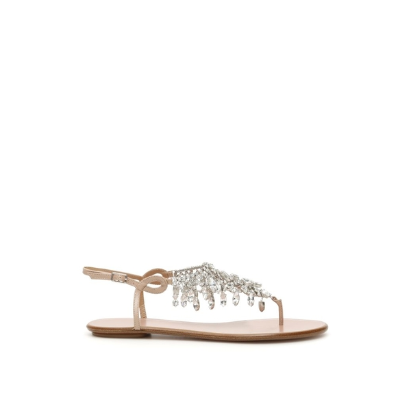 アクアズーラ レディース サンダル シューズ Aquazzura Temptation Crystal Flat Sandals POWDERPINKMetallico