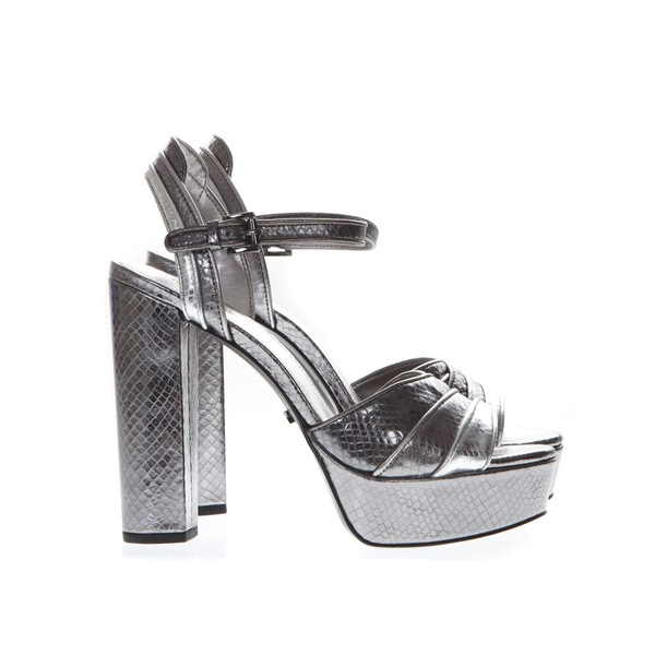 マイケルコース レディース サンダル シューズ MICHAEL Michael Kors Platform Sandals In Silver Printed Reptile Leather Silver
