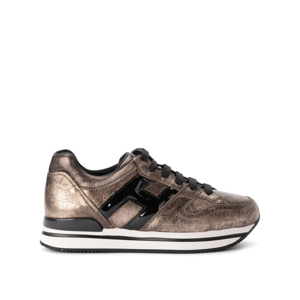 ホーガン レディース スニーカー シューズ Hogan H222 Pale Golden Leather And Black Patent Leather Sneaker ORO