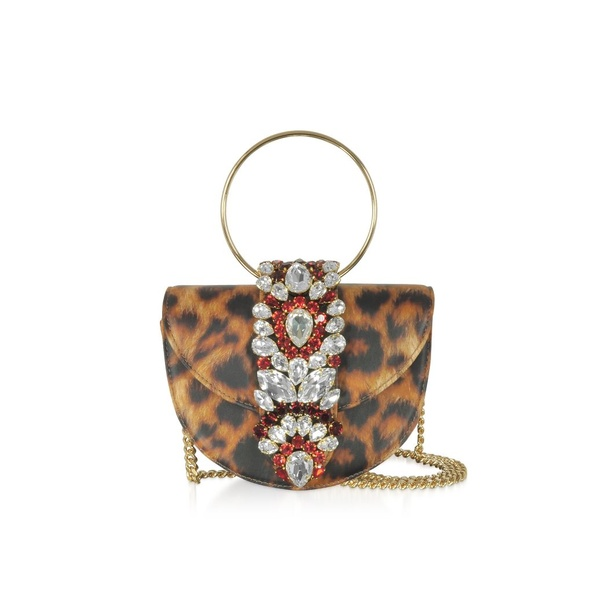 ゲデべ レディース クラッチバッグ バッグ Gedebe Mini Brigitte Animal Printed Leather Clutch Brown