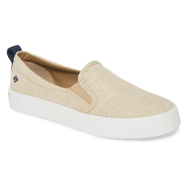スペリー レディース スニーカー シューズ Sperry Crest Twin Gore Slip-On Sneaker (Women) Champagne Sparkle Linen