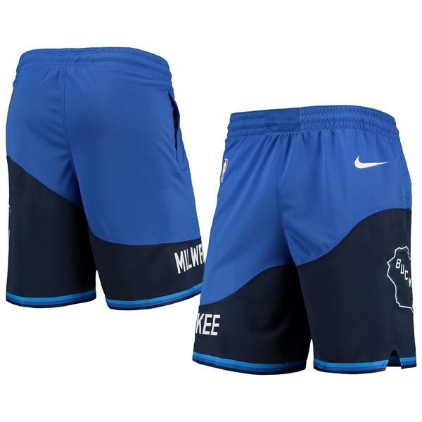 ナイキ メンズ ハーフ&ショーツ ボトムス Milwaukee Bucks Nike 2020/21 City Edition Swingman Shorts Blue