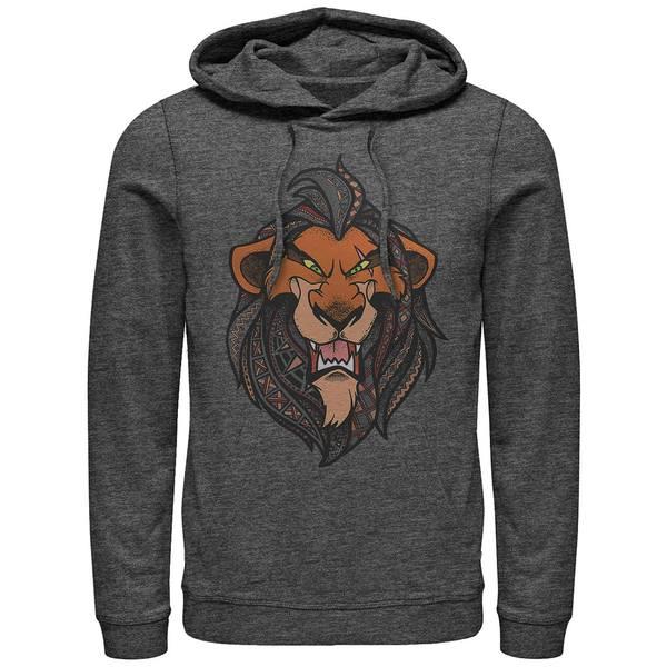 【送料無料/即納】  ディズニー メンズ パーカー・スウェットシャツ アウター Men&39;s Lion King Scar Geometric Pattern Fill Portrait, Pullover Hoodie Dark Gray, めん工房 辻麺業 bb867529