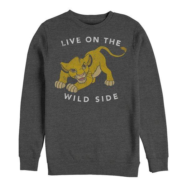【売り切り御免!】 ディズニー メンズ パーカー・スウェットシャツ アウター Men&39;s Lion King Simba Wild Side, Crewneck Fleece Dark Gray, リコルディ 11ac4582