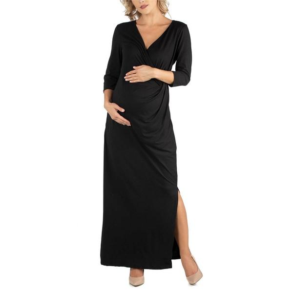 お買い得品 24セブンコンフォート レディース トップス ワンピース Black 全商品無料サイズ交換 Ankle Side Length Formal Maternity Dress 安心と信頼 Maxi Slit