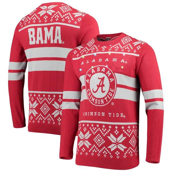 フォコ メンズ シャツ トップス Alabama Crimson Tide Two-Stripe Light-Up Pullover Sweater Crimson