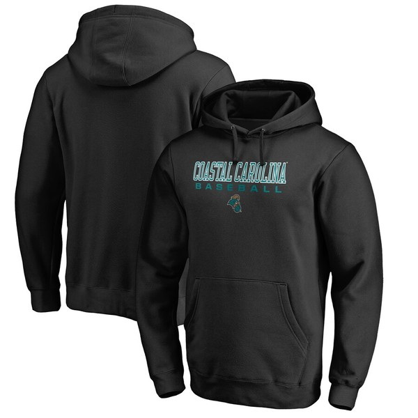 ファナティクス メンズ パーカー・スウェットシャツ アウター Coastal Carolina Chanticleers Fanatics Branded True Sport Baseball Pullover Hoodie Black