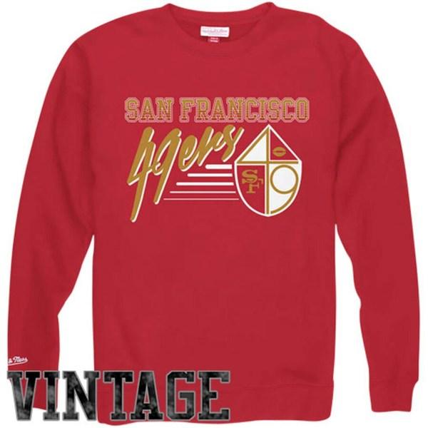 ミッチェル&ネス メンズ パーカー・スウェットシャツ アウター Mitchell & Ness San Francisco 49ers NFL Training Room Crew Sweatshirt Red