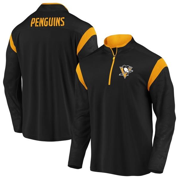 ファナティクス メンズ ジャケット&ブルゾン アウター Pittsburgh Penguins Fanatics Branded Mission Half-Zip Pullover Jacket Black