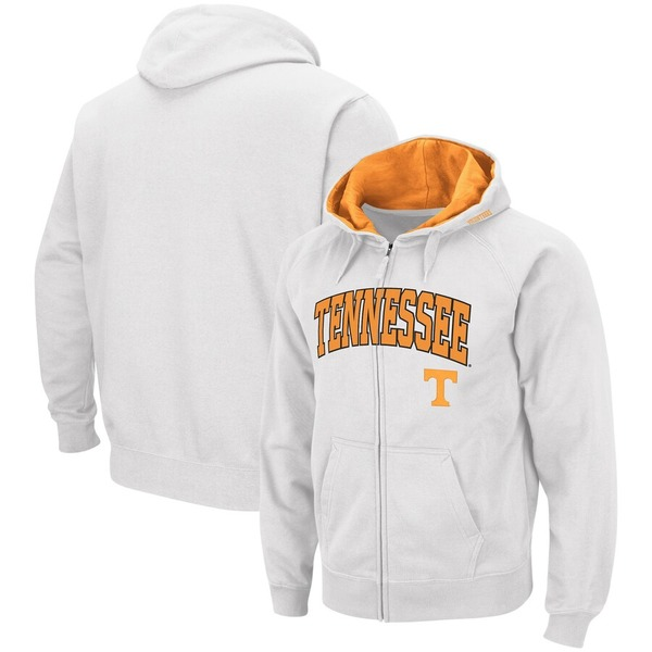 コロシアム メンズ パーカー・スウェットシャツ アウター Tennessee Volunteers Colosseum Arch & Logo Tackle Twill Full-Zip Hoodie White