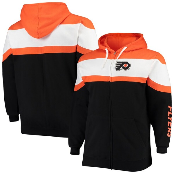 マジェスティック メンズ パーカー・スウェットシャツ アウター Philadelphia Flyers Majestic Big & Tall Color Block Full-Zip Hoodie Black/Orange