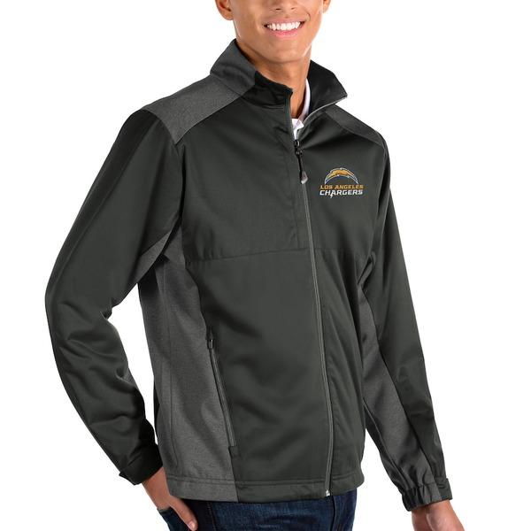 アンティグア メンズ ジャケット&ブルゾン アウター Los Angeles Chargers Antigua Revolve Full-Zip Jacket Charcoal/Heather Charcoal