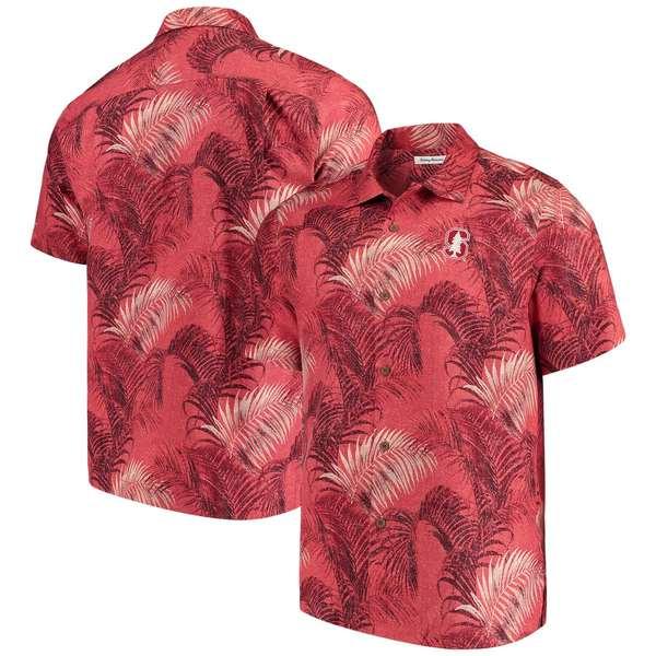 トッミーバハマ メンズ シャツ トップス Stanford Cardinal Tommy Bahama Fez Fronds Silk Camp Shirt Cardinal