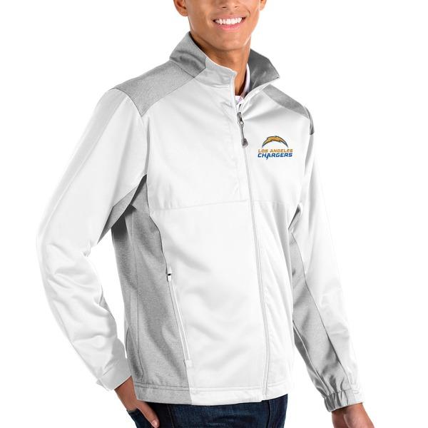 アンティグア メンズ ジャケット&ブルゾン アウター Los Angeles Chargers Antigua Revolve Full-Zip Jacket White/Heather Gray