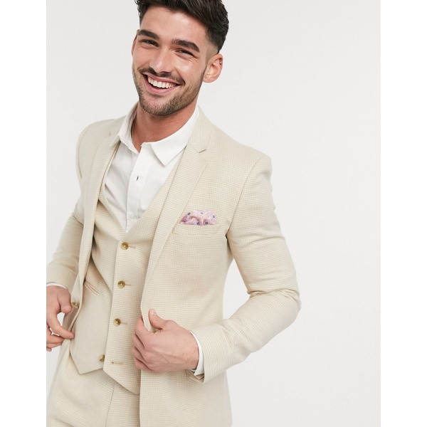 エイソス メンズ ジャケット&ブルゾン アウター ASOS DESIGN wedding super skinny suit jacket in stretch cotton linen in stone houndstooth Stone