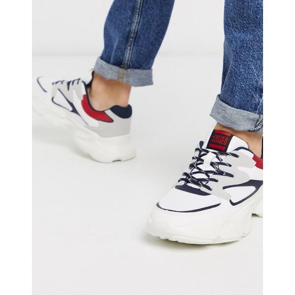 ジャック アンド ジョーンズ メンズ スニーカー シューズ Jack & Jones sneakers with chunky sole and contrast panels White