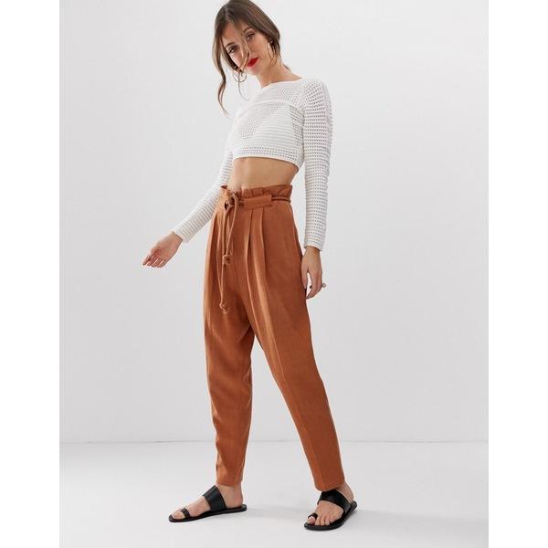 エイソス レディース カジュアルパンツ ボトムス ASOS DESIGN gutsy linen tapered pants with rope belt Saddle up brown