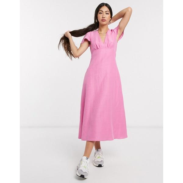 ホイッスルズ レディース ワンピース トップス Whistles frill shoulder midi dress in pink Pink