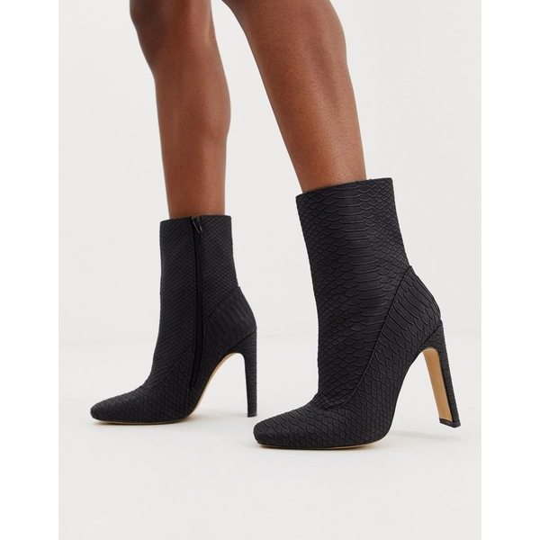 ミスガイデッド レディース ブーツ&レインブーツ シューズ Missguided square toe faux suede ankle boot in black snake Black