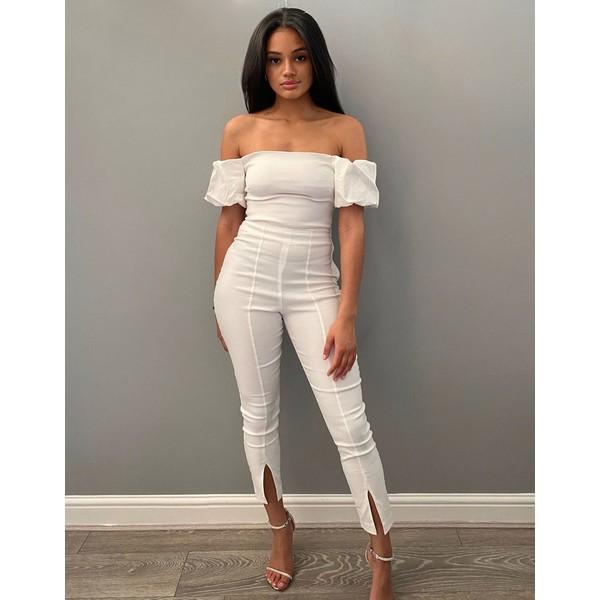 ベスパー レディース カジュアルパンツ ボトムス Vesper slim fit pants two-piece in white White