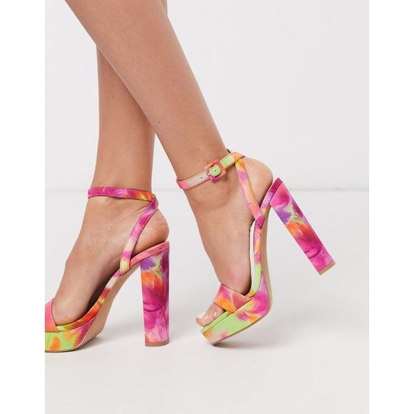 エイソス レディース ヒール シューズ ASOS DESIGN Nutshell platform barely there heeled sandals in tropical print Tropical print
