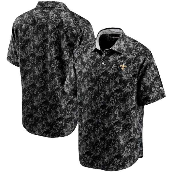 トッミーバハマ メンズ シャツ トップス New Orleans Saints Tommy Bahama Sport Jungle Shade Camp ButtonDown Shirt Black