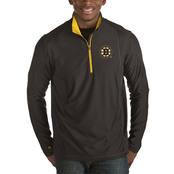 アンティグア メンズ ジャケット&ブルゾン アウター Boston Bruins Antigua Tempo Desert Dry HalfZip Pullover Jacket Black