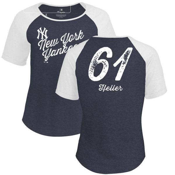 ファナティクス レディース Tシャツ トップス New York Yankees Fanatics Branded Women's Personalized Sideline TriBlend TShirt Navy