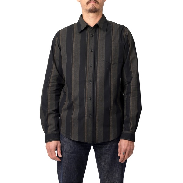 リラクロージング メンズ シャツ トップス Lira Clothing Larkspur Stripe Flannel Button-Up Shirt Black