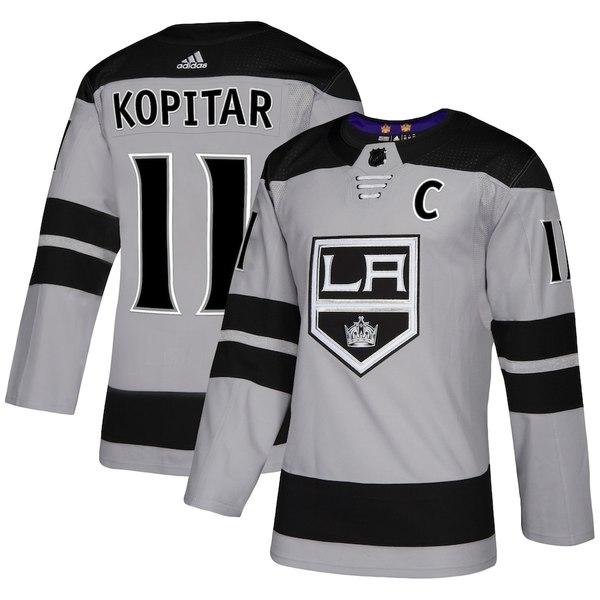 アディダス メンズ シャツ トップス Anze Kopitar Los Angeles Kings adidas Alternate Authentic Player Jersey Gray