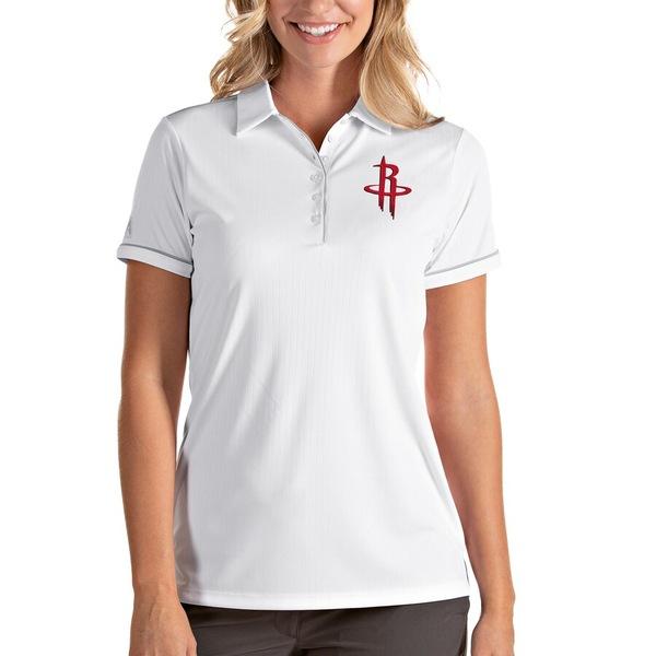 アンティグア レディース ポロシャツ トップス Houston Rockets Antigua Women's Salute Polo White/Silver