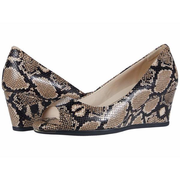 コールハーン レディース ヒール シューズ Grand Ambition Open Toe Wedge (55 mm) Amphora Exotic Snake Print Leather/Black