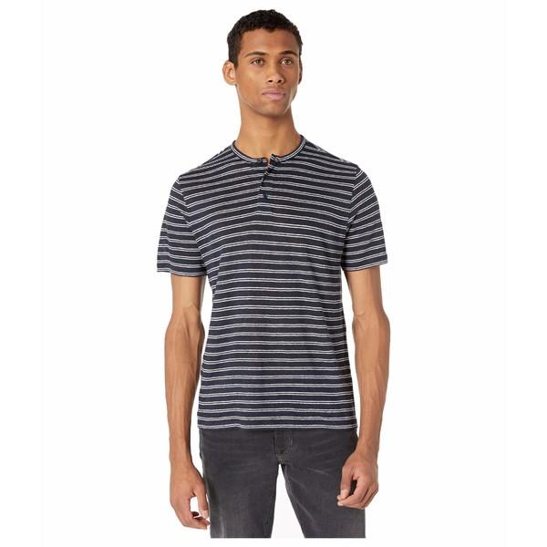 ヴィンス メンズ シャツ トップス Short Sleeve Stripe Henley Tee Coastal/Optic White