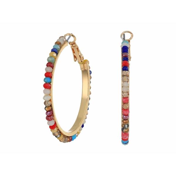 ケネスジェイレーン レディース ピアス&イヤリング アクセサリー Gold w/ Multicolor Beads Medium Post Hoop Earrings Gold/Multicolor