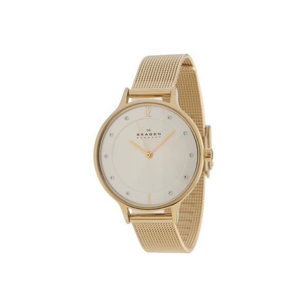 スカーゲン レディース 腕時計 アクセサリー Anita Three-Hand Watch SKW2150 Gold Stainless Steel Mesh