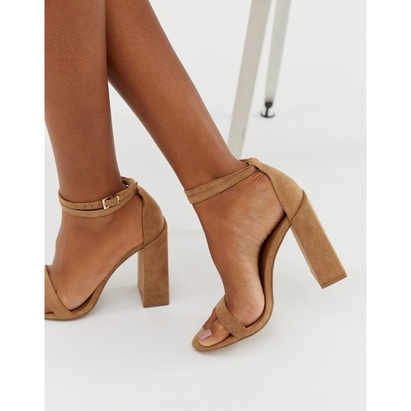 エイソス レディース ヒール シューズ ASOS DESIGN Highlight barely there block heeled sandals Warm beige