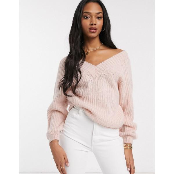 エイソス レディース ニット&セーター アウター ASOS DESIGN v neck fluffy oversized sweater Blush