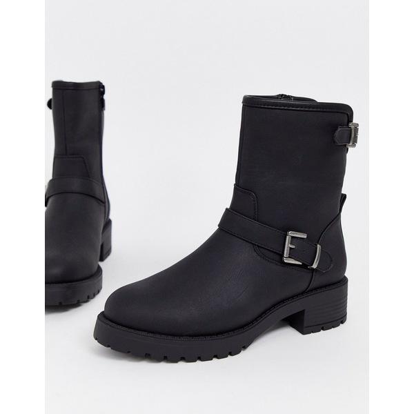 エイソス レディース ブーツ&レインブーツ シューズ ASOS DESIGN August biker boots in black Black