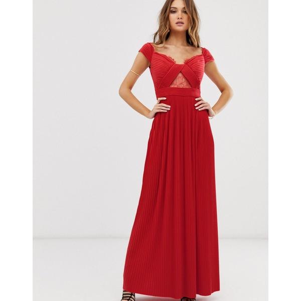 エイソス レディース ワンピース トップス ASOS DESIGN Premium lace and pleat bardot maxi dress Bright red