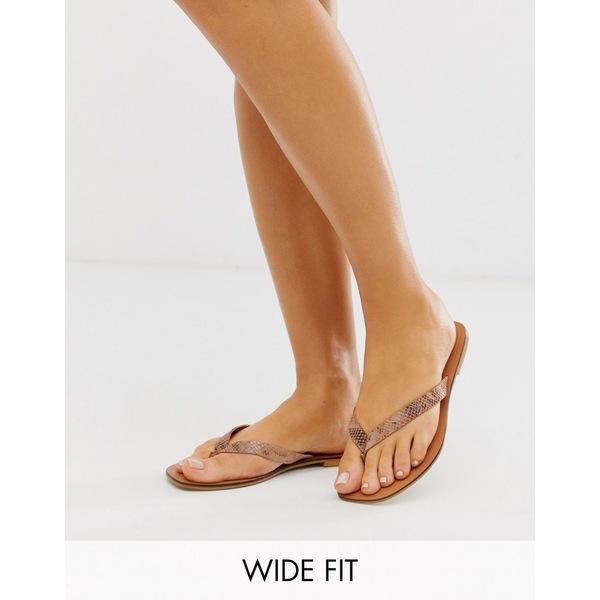 エイソス レディース サンダル シューズ ASOS DESIGN Wide Fit Florence leather flip flop sandals in snake Snake