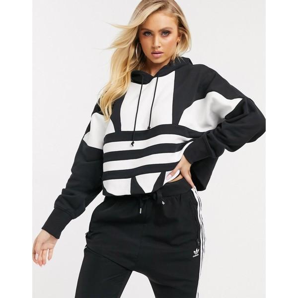 アディダスオリジナルス レディース パーカー・スウェットシャツ アウター adidas Originals large trefoil hoody in black Black