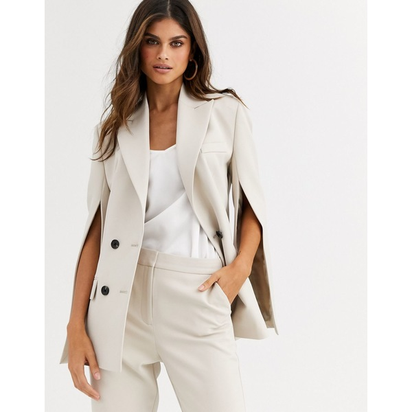 エイソス レディース ジャケット&ブルゾン アウター ASOS DESIGN split sleeve suit blazer Stone