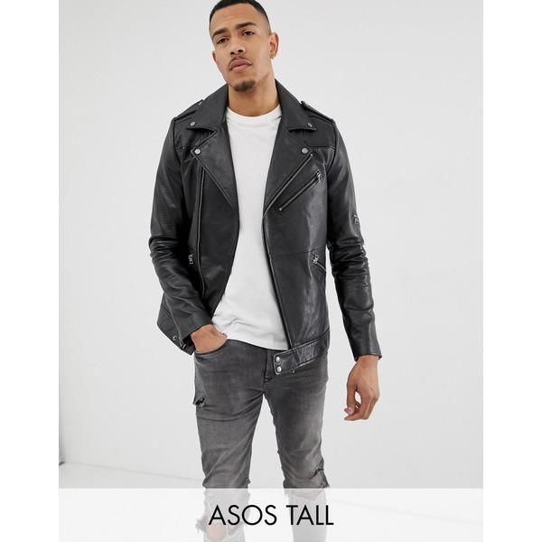 エイソス メンズ ジャケット&ブルゾン アウター ASOS DESIGN Tall leather racing biker jacket in black Black