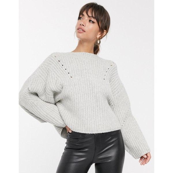 エイソス レディース ニット&セーター アウター ASOS DESIGN premium super chunky rib sweater with tie back Gray