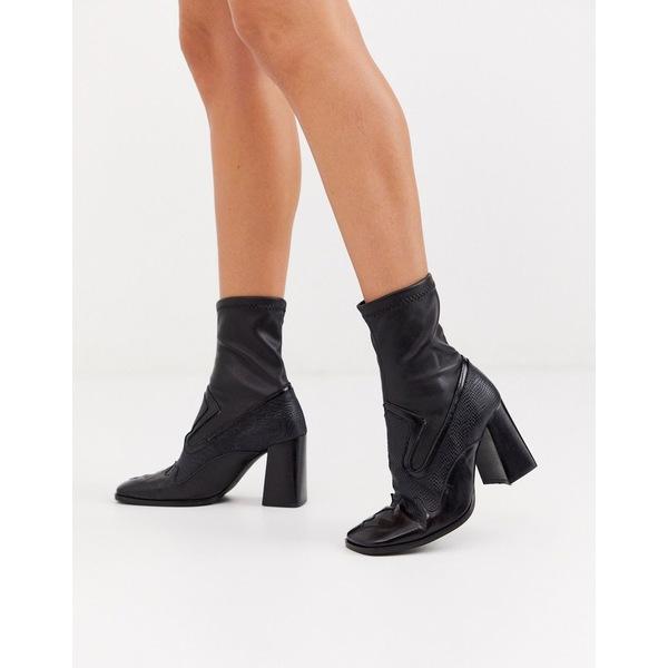エイソス レディース ブーツ&レインブーツ シューズ ASOS DESIGN Evan premium leather western sock boots in black Black leather