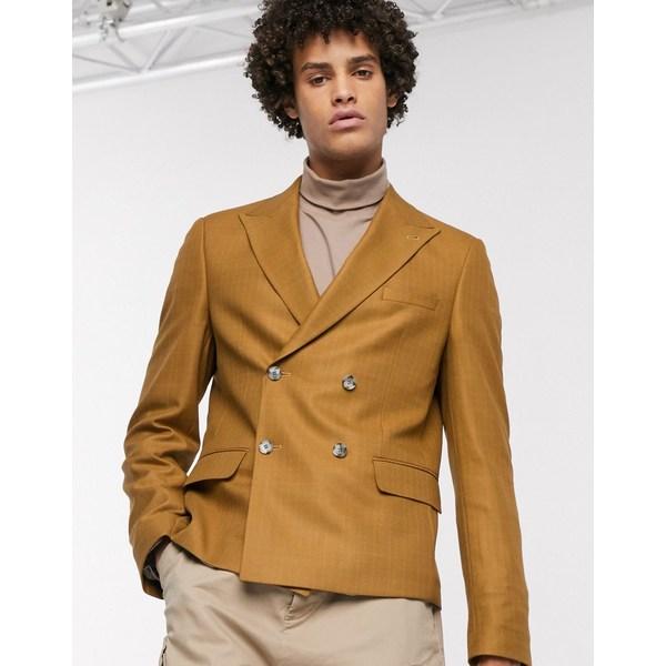 エイソス メンズ ジャケット&ブルゾン アウター ASOS DESIGN slim crop double breasted crosshatch blazer in tan Tan