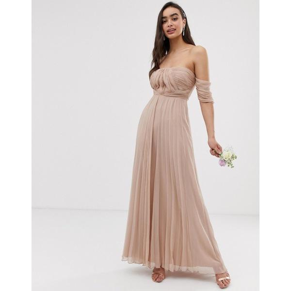 エイソス レディース ワンピース トップス ASOS DESIGN Bridesmaid bardot ruched pleated maxi dress Soft blush