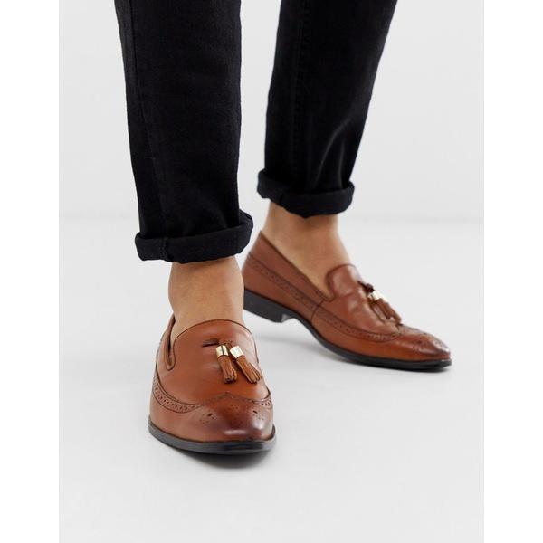 エイソス メンズ スリッポン・ローファー シューズ ASOS DESIGN brogue loafers in tan leather with gold tassel detail Tan