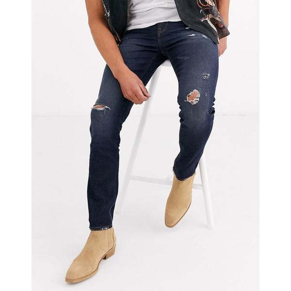 エイソス メンズ デニムパンツ ボトムス ASOS DESIGN skinny jeans 'honestly worn' in vintage dark wash with abrasions Dark wash vintage