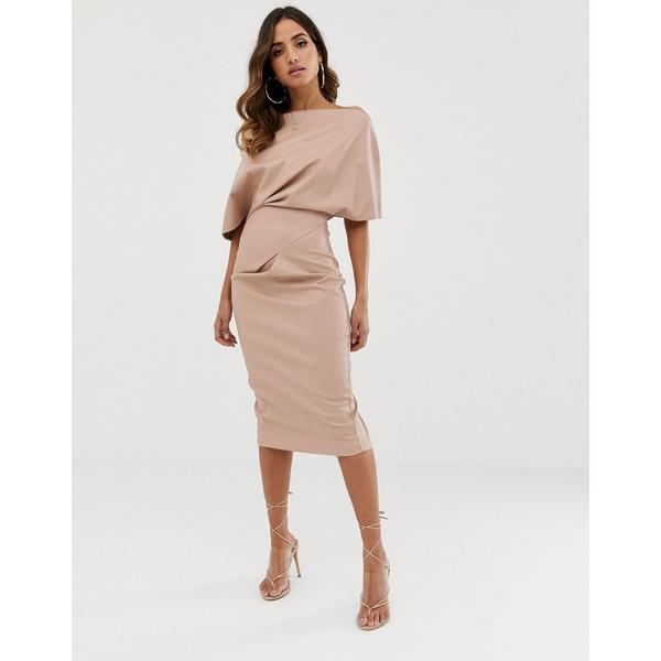 エイソス レディース ワンピース トップス ASOS DESIGN PU drape shoulder midi pencil dress Dusty pink